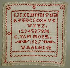 Sweet! 1927 Red Dutch Needlework Alphabet Sampler School Cross Stitch
