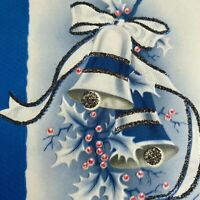 Vintage Mid Century Christmas Greeting Card Mica Glitter Blue Jingle Bells Holly