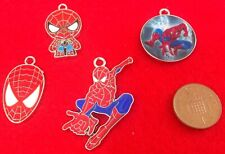 Set Of 4 Various SuperHero Spiderman Enamel Bracelet Key Ring Pendant Charms D2u