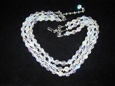 Vtg. Hobe signed Aurora Borealis crystal necklace 3 strands crystals on chain