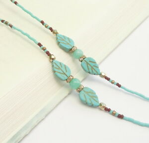 Turquoise Eyeglass Chain Gold Eyeglass Holder Necklace Gold Beaded Lanyard Women
