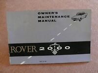 Rover 2000 Owners Maintenance Manual