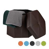 Faltbarer Sitzhocker Sechseckig mit Stauraum Sitzhocker Sitzwürfel Kunstleder