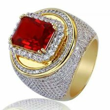 Fashion Men's Jewelry 18K Yellow Gold Plated Red Ruby Gems Ring Wedding Sz 16