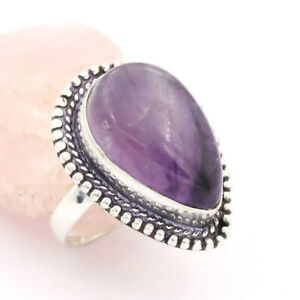 Amethyst 925 Silver Plated Handmade Gemstone Ring of US Size 8.75 Ethnic Gift