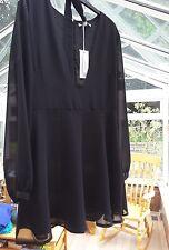 BNWT Glamorous chiffon sheer low front sheer skater Dress Black Size 12