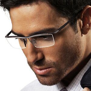 Agstum Pure Titanium Mens Nickle Free Half Rim Eyeglasses Frames Optical Rx