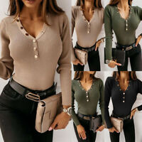 Women Long Sleeve V Neck Knitted Sweater Shirt Ladies Slim Fit Blouse Tops USA