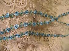 DARLING ROSEBUD TRIM ~BLUE & GREEN ~ DOLLS CRAFT QUILT 2 yards