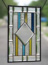 Stained Glass Beveled  Window Hanging ,Contemporary Original Panel