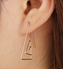 Silver Tone Wire Triangle Ear Stud Earrings pins Climber Rings 925 slv ECF28