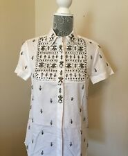 New J.CREW Collection Jeweled Bib Shirt Blouse Sz 2 White Short Sleeve SOLD OUT!