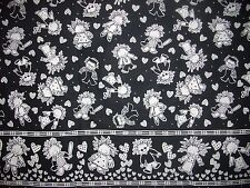 Black and White Border Kids Playing Sports and Fun   Fabric  SBTY  RARE OOP