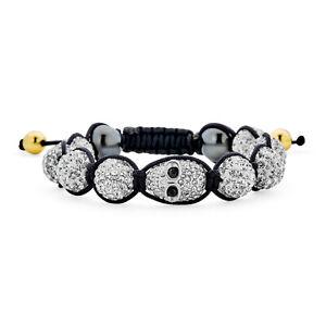 Skulls White Crystal Ball Shamballa Inspired Bracelet Black Cord