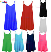 Womens Sleeveless Cami Swing Dress Floaty Flared Strappy Skater Long Top lot