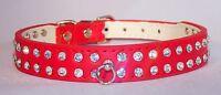 NEW! 2 Row Diamante Rhinestone Bling Crystal PU Leather Dog Cat Pet Collar UK