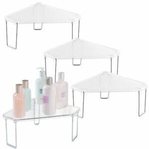 mDesign Plastic Bathroom Stackable Corner Organizer Shelf, 4 Pack - Clear/Chrome