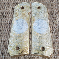 1911 Grips For Kimber / Colt / ROCK ISLAND Frames Aztec Gold Plated Ambi Cut