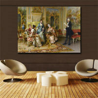 19 century Europe Court Oil Painting HD print on canvas The lady is learning