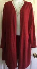 WOMEN'S PLUS SIZE STRETCH TOP COVER BY KIM ROGERS SIZE 2X RED, VERY LONG LENGTH!