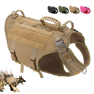 Reflective Military Tactical Dog Harness Molle Service Vest Large Dogs Training