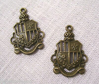 032 / LOT de 2 BLASON BOUCLIER ARMOIRIES Bronze 20x25mm CHARM / BRELOQUE / PERLE