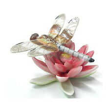 New NORTHERN ROSE Porcelain DRAGONFLY Pink Water LILY Figurine Statue Flower