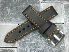 22mm NEW COW LEATHER STRAP Black Watch BAND NAVITIMER Copper Stitch 22 mm