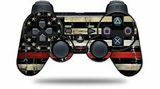 Skin for PS3 Controller Painted Faded Cracked Red Line USA American Flag