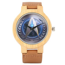 Star Trek Wrist Watch Genuine Leather Strap Nature Bamboo Arrival Men Trendy