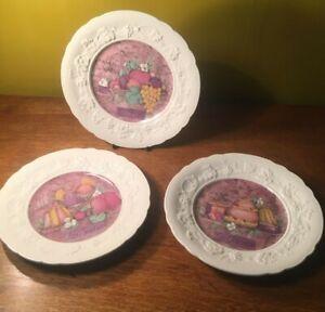 GIEN SIDE TEA  PLATES X 3 LES FRUITS LES SORBETS LES GATEAUX