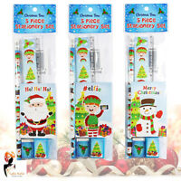 5 Piece Christmas Stationery Set Pencil Eraser Sharpener Notebook Santa Snowman