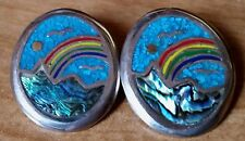 2 Vintage Oval Pendants w/ Turquoise Blue Sky Rainbow Mother of Pearl Mountains