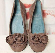 Braune Caprice Walking On Air Echt Leder Schuhe Pumps Slipper Blumen 35,5 UK 3