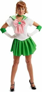 Sailor Moon Jupiter Costume & Wig Cosplay Teen XS Dress Gloves Headband Choker