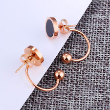 Hook Ball Round Black Rose Gold GP Surgical Stainless Steel Stud Earrings Gift