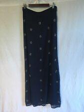 Monsoon Size UK 8 Navy Sequinned Maxi Skirt Full Length Straight Blue XS Beaded