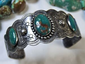 Vintage Fred Harvey Era Native American Sterling Silver Malachite /& Azurite Cuff Bracelet #D94