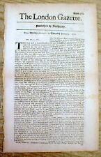 Original 1701 LONDON GAZETTE England -1st English language newspaper 320 yrs old