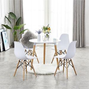 4 sillas de comedor y mesa de comedor redonda Juego de comedor de madera-Blanco