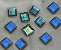 SALE!! Royal Lot Natural Labradorite 10x10 MM Square Cut Faceted Loose Gemstone