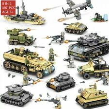 1061pcs Army Military Tank Soldier WW2 Toy Gift Kids Building Blocks Bricks DIY