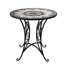 Eleganter Mosaik Bistrotisch rund Ø70x72cm Mosaiktisch Gartentisch Beistelltisch