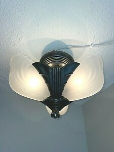 1930s Art Deco 3 Light Slip Shade Fixture #2