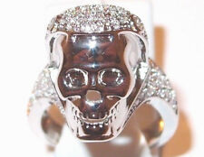 Simulated Diamond skull ring, 2.0ct, in silver tone brass, Size M, c. 5.85g.