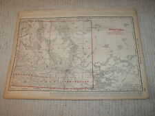 Vintage 1901 Manitoba Map Rand McNally Business Atlas Single Page