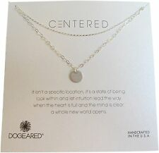 """Dogeared Sterling Silver Centered Medium Circle Double Chain Box 18"""" Necklace"""