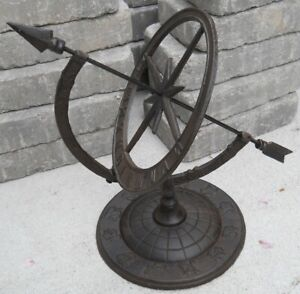 Iron Armillary Sundial with Arrow Lawn Garden Decor Sundials  Sun Dial Yard Art