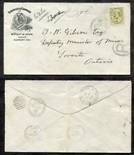 p610 - COPPER CLIFF Sudbury 1910 Cover Mines Minister House of Assembly 7c KEVII