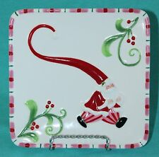"Fitz and Floyd ""Mingle, Jingle, Be Merry"" Snack Cheese Plate Christmas Santa"